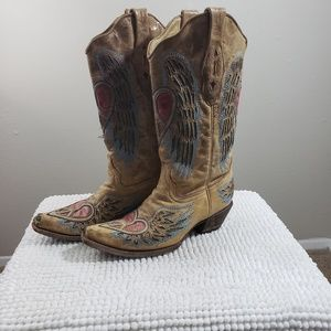 Corral Antique Wing and Heart Western Boots 8.5M